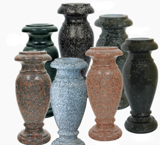 [Image: This wonderful collection of beautiful vases offers families a way to find a vase that will match, or maybe even emphasize virtually any existing memorial. These vases are made of a large variety of different types of granite stone, which helps offer a wide selection of color choices. ]