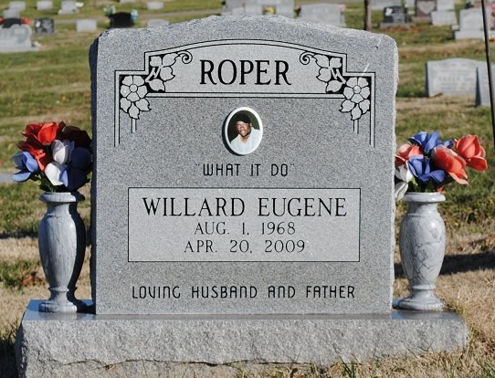 [Image: This single monument was designed with granite material and customized with a photo for remembrance of a special husband and father. ]