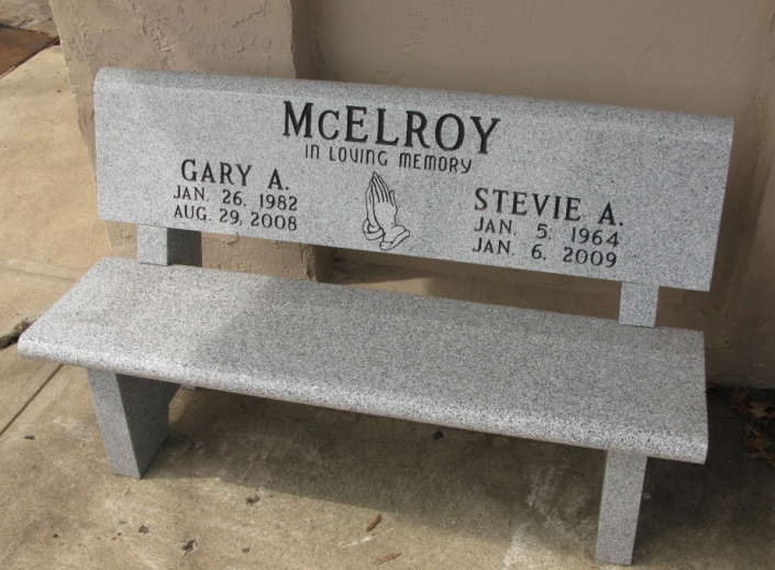 [Image: This companion bench is made in loving memory to honor family members and has the sketched detail of praying hands. Ask us about customizing your monument purchase. ]