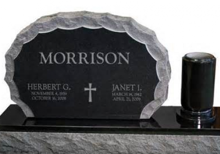 Granite & Jet Black Double Upright Monument